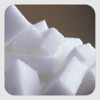 Cubes of white sugar For use in USA only.) Square Sticker