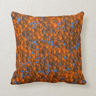 Cubes Oranges and Blue Pillow
