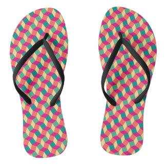 Cubic retro summer wavy pattern flip flops