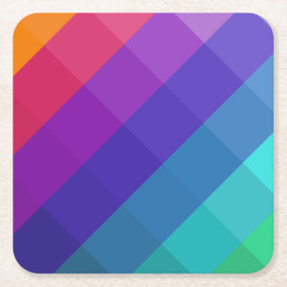 Cubical Colors Square Paper Coaster
