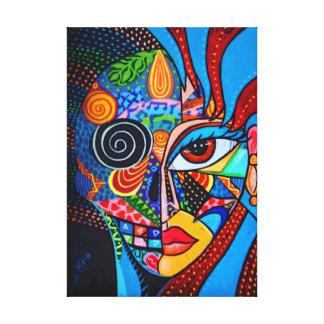 Cubism candy skull canvas print