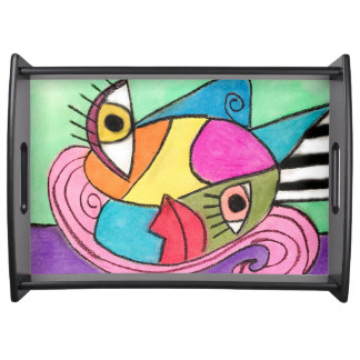 Cubism Color Block Art Big Eyes Lips Quirky Bold Serving Tray