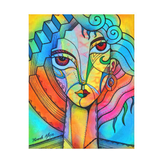 Cubism girl canvas print
