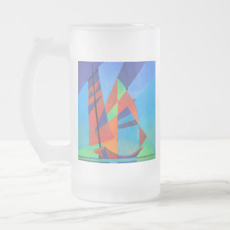 Cubist Abstract Junk Boat Against Deep Blue Sky Frosted Glass Beer Mug