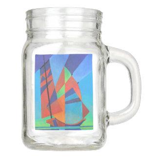 Cubist Abstract Junk Boat Against Deep Blue Sky Mason Jar