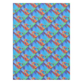 Cubist Abstract Junk Boat Against Deep Blue Sky Tablecloth