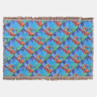 Cubist Abstract Junk Boat Against Deep Blue Sky Throw Blanket