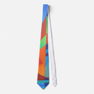 Cubist Abstract Junk Boat Against Deep Blue Sky Tie