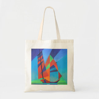 Cubist Abstract Junk Boat Against Deep Blue Sky Tote Bag
