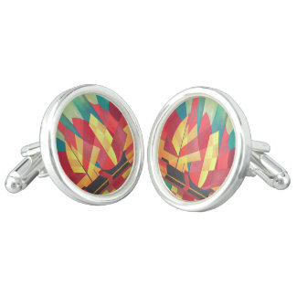 Cubist Abstract of Junk Sails and Ocean Skies Cufflinks
