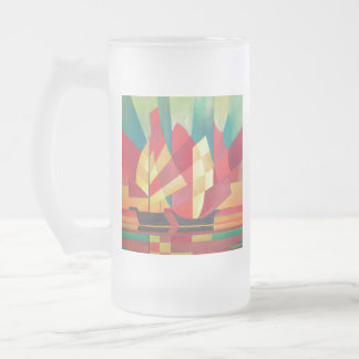 Cubist Abstract of Junk Sails and Ocean Skies Frosted Glass Beer Mug