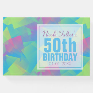 Cubist Abstract Pastel 50th Birthday Guest Book