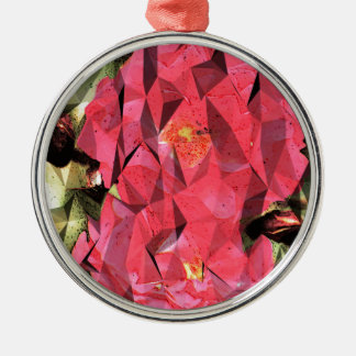 Cubist Abstract Roses Silver-Colored Round Ornament