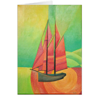 Cubist Abstract Sailing Boat Card