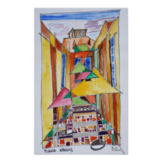 Cubist Style Watercolor Plaka | Athens, Greece Poster
