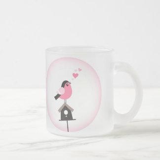 Cuckoo Bird Calling Hearts Glass Mug