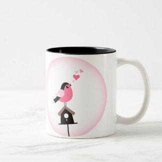 Cuckoo Bird Calling Hearts Two-Tone Mug