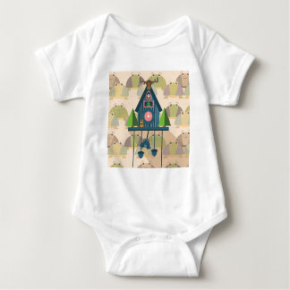 Cuckoo Clock with Turtle Wall paper Baby Bodysuit