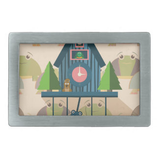 Cuckoo Clock with Turtle Wall paper Belt Buckle