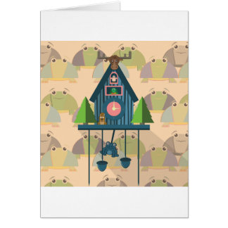 Cuckoo Clock with Turtle Wall paper Card