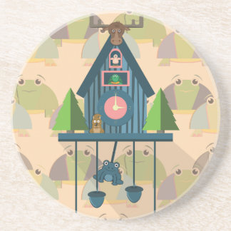 Cuckoo Clock with Turtle Wall paper Coaster