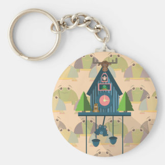 Cuckoo Clock with Turtle Wall paper Keychain