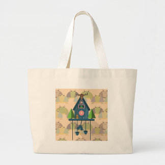 Cuckoo Clock with Turtle Wall paper Large Tote Bag