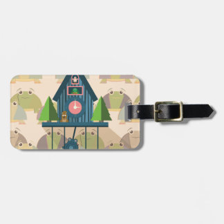 Cuckoo Clock with Turtle Wall paper Luggage Tag