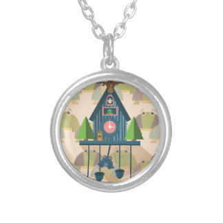 Cuckoo Clock with Turtle Wall paper Silver Plated Necklace