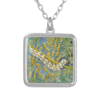 Cucullia Absinthii Caterpillar Silver Plated Necklace