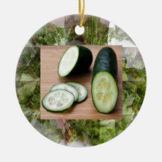 CUCUMBER Cool Minds Healthy Skin Tonic Salad foods Round Ceramic Ornament