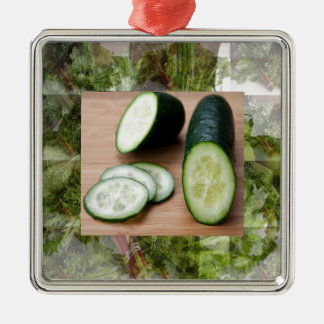 CUCUMBER Cool Minds Healthy Skin Tonic Salad foods Silver-Colored Square Ornament