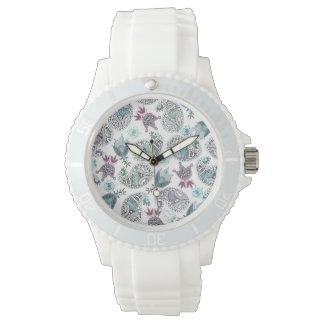 Cucumber floral motive wristwatch