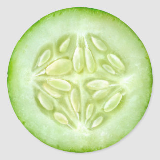 Cucumber macro classic round sticker