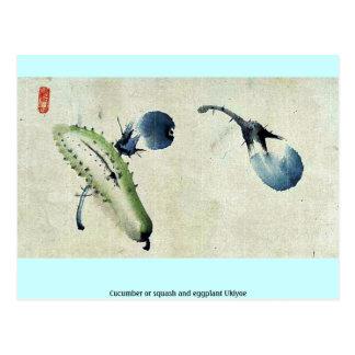 Cucumber or squash and eggplant Ukiyoe Postcard