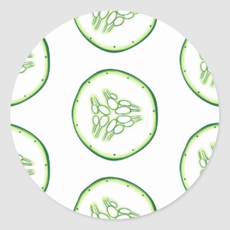 Cucumber slices pattern classic round sticker