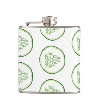 Cucumber slices pattern hip flask