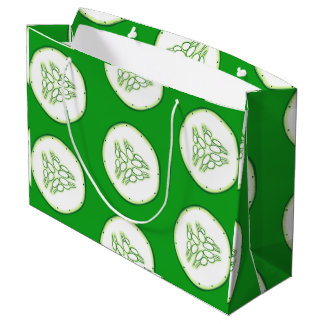 Cucumber slices pattern large gift bag