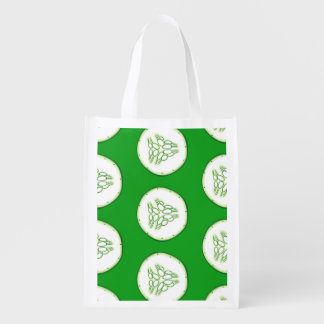 Cucumber slices pattern reusable grocery bag
