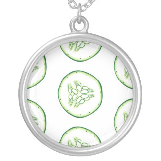 Cucumber slices pattern silver plated necklace