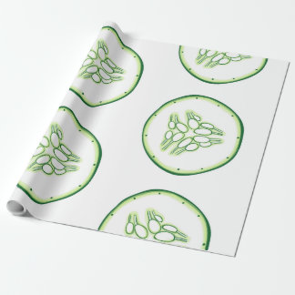 Cucumber slices pattern wrapping paper