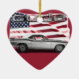 Cuda Muscle Car Ceramic Heart Ornament