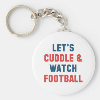 Cuddle And Football Basic Round Button Keychain
