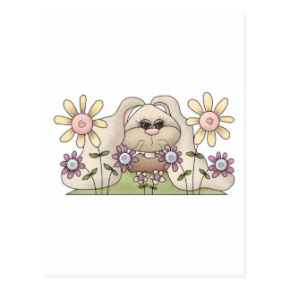 Cuddle Hoppers • Bunny with Flowers Postcard