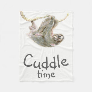 """Cuddle time"" Sloth mom and baby easy to customise Fleece Blanket"