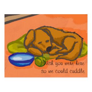 Cuddled in postcard