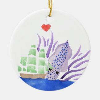 Cuddles the Kraken Ceramic Ornament