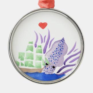 Cuddles the Kraken Metal Ornament