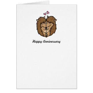 Cuddling Hedgehogs Anniversary card