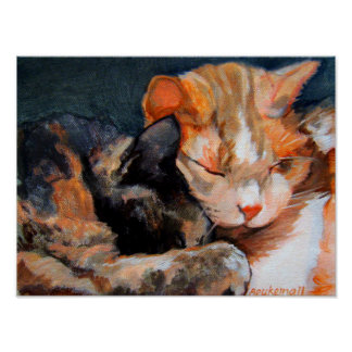 Cuddling Kittens Calico and Tan Poster